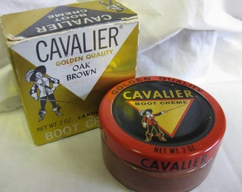 Vintage Cavalier Boot Polish Jar Kiwi Brown Shoe Collectible Advertising tin box