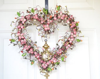 Heart shaped Wreath - mauve dry look rosebuds - Romantic Gift - Mothers Day