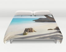 Beach Duvet Cover, Ocean Decorative bedding, unique design, Nautical comforter cover, Aqua Blue bedroom, Surf, Water, Ocean Blue, Tropical