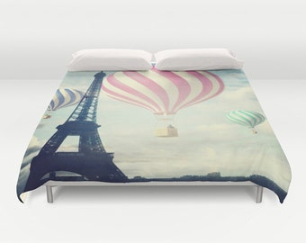 Hot Air Balloons Paris Duvet Cover, Made to Order, Eiffel Tower, Eye Candy, Decorative, Fantasy Bedding, Unique Design, Comforter Cover