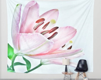 Lily Wall Tapestry, Large Flower Wall Art, Flower Tapestry, Pink Tapestry, Petals, Modern Decor, Nature, Wedding Gift, Nursery Art, Vibrant