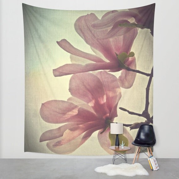 Magnolia Tapestry, Flower Tapestry, Floral Large Wall Decor, Photo Tapestry, Modern Decor, Wall Hanging, Nature Tapestry, Botanical Tapestry