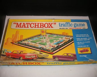 Vintage Matchbox Traffic Game Toy Car Matchbox Road Game with Box 1968