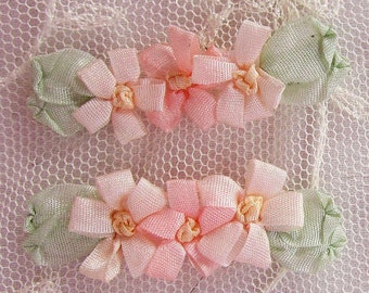 4pc Peach Vintage Like Silk Ribbon Embroidered Daisy Flower Applique Christening Gown Baby Antique Doll Clothing Hair Dog Bow