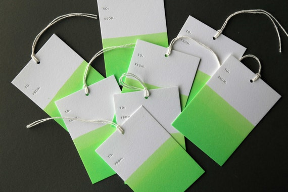 "Set of 8 GREEN hand dip dyed and letterpress printed gift tags, 2.5 x 3.5"" with twine"