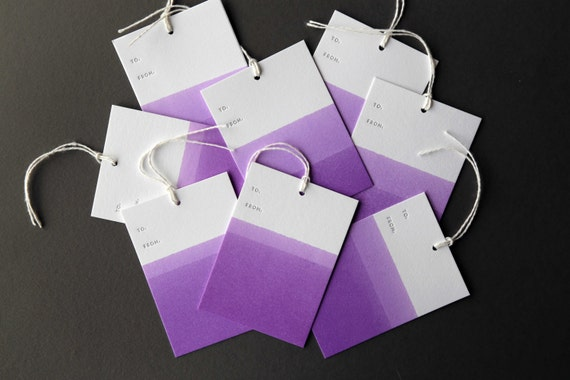 "Set of 8 PURPLE hand dip dyed and letterpress printed gift tags, 2.5 x 3.5"" with twine"