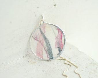 Iris Painting Necklace, Mauve Pink Pendant, Dove Gray Jewelry, Art Lover Gift