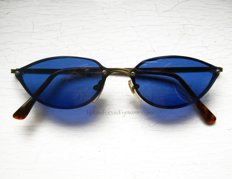 Awesome 80's Blue Cat Eye Sunglasses Back Thennish Vintage