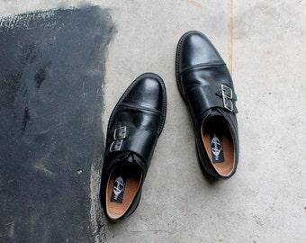Vintage Italian Leather Men's Black Shoes, Slip On Punk Alternative Grunge Rock 90s