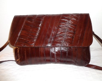 Leather of the Sea genuine eel skin eelskin large  clutch satchel shoulder bag  in mahogany  vintage 80s