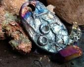 218. New  Design Chaco Canyon Pink Blue Gold Silver Raku Pendant