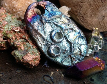 218. New  Design Chaco Canyon Pink Blue Gold Silver Raku Pendant