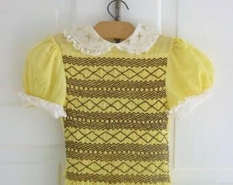 Vintage Older Girl Dress Yellow Swiss Dot Smocking Peter Pan Collar Child Clothes Size 8