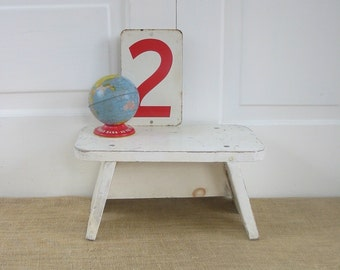 Vintage White Foot Stool Bench Wood Ottoman Shabby Cottage Chic