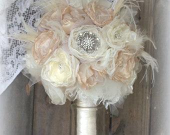 Brooch Bouquet,Bridal Bouquet,Fabric Bouquet, Vintage Bouquet,Champagne and Ivory, alternative bouquet, wedding flowers, feather bouquet