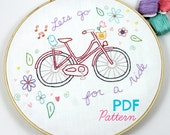 Bicycle Ride Hand Embroidery PDF Pattern Bike