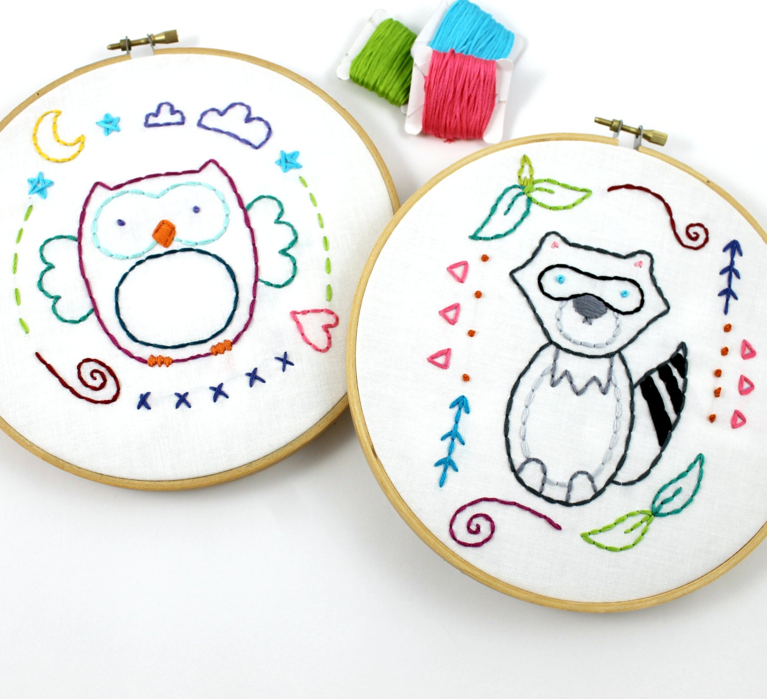 woodland animals owl amp raccoon hand embroidery pattern