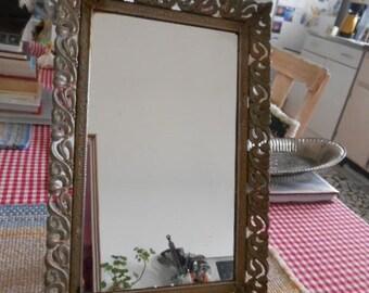 Vintage gold metal stand up mirror