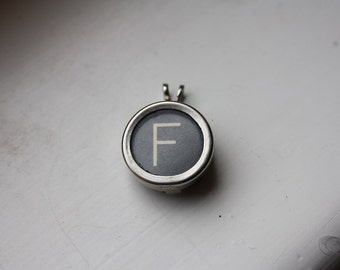 Typewriter Key Letter F Pendant Necklace on Ball Chain