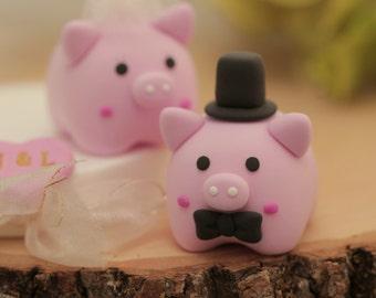 pig and piggy Wedding Cake Topper---k703