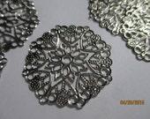 Hexagon Style Filigree Connectors  6 Stamped Silver  Wraps etc  Round  Wraps