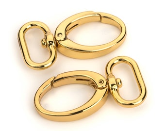 "20pcs - 1"" Metal Egg Shaped Push Gate Swivel Snap Hook - Gold - (METAL HOOK MHK-198)"