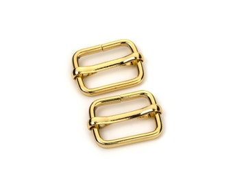 "10pcs - 3/4"" Adjustable Slide Buckle - Gold - Free Shipping (SLIDE BUCKLE SBK-113)"