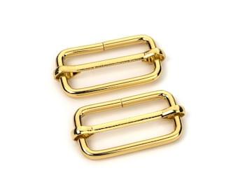 """10pcs - 1 1/4"""" Adjustable Slide Buckle - Gold - Free Shipping (SLIDE BUCKLE SBK-121)"""