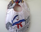 Ghostbusters Baby Gift - Stay Puft Marshmallow Man Baby Bib from Vintage Bed Sheets - 80s Baby Gift - Oversize Snap Bib - Unique Baby Gift