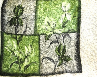 Authentic vintage 50s silk soie large scarf with a hand painted abstact irises in green, sage, grey color. Made by Jacques F.Fath in Paris