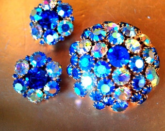 Hollywood vintage 50s blue rainbow aurora borealis demi parure. Made by Joseph Warner.