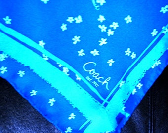 Boho vintage 90s blue silk soie scarf with forget ne not print.  Authentic Coach. Mint condition.
