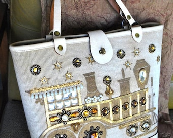 Iron horse. Vintage 60s jeweled burlap handbag. Made by Collins Texas.