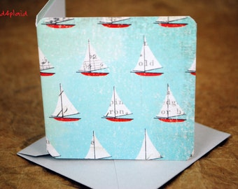 Blank Mini Card Set of 10, Watercolor Sailboat Design with Contrasting Pattern on the Inside, Pale Gray Enelopes, mad4plaid