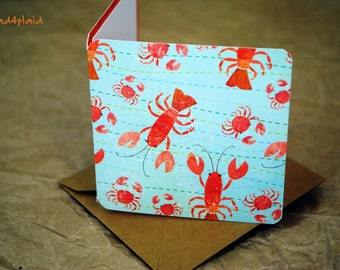 Blank Mini Card Set of 10, Mini Lobster Design with Contrasting Pattern on the Inside, Kraft Envelopes, mad4plaid