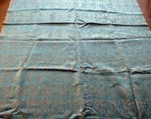Reserved for Chris - Vintage Fabric Egyptian Taffeta Blue Pink Gold Figures Anubis - 5 Yards