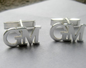 Sterling Silver Men's Cufflinks, letter cuffliks, gemelos para hombre,  name, initial, Christmas Gifts for Men,  Handmade, Anniversary gift