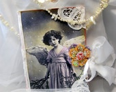 Vintage Inspired Altered Angel Journal Blank Hand Made Diary, SMASH Book, Christmas Memory Book