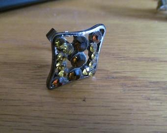 amber yellow rhinestone ring