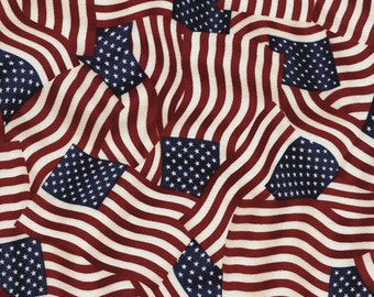 Packed American Flag Patriotic fabric C2850 | Cotton Quilting fabric