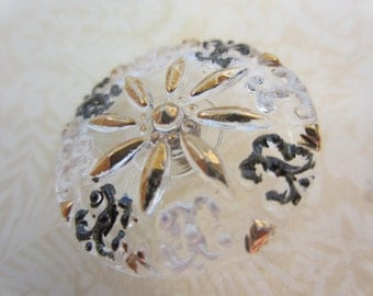 Vintage Style Button - 1 beautiful large, Czech pressed glass hand painted, floral design, clear glass , gold, black, white (lot July 886)