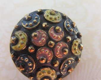 Vintage button, 1 large pressed glass, hand painted pastel colors, flower design, jet black glass, Czech (July 102)
