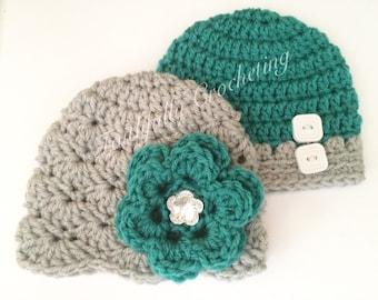 Newborn twin hats.. Boy girl twin beanies.. Photography prop.. Ready to ship