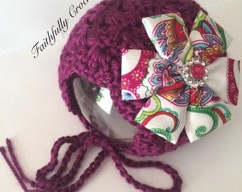 Newborn bonnet.. Flower hair clip.. Photography prop.. Ready to ship
