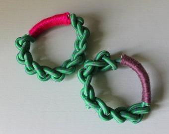 Crochet bungee cord & yarn wrapped bracelet