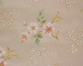 1940s Vintage Wallpaper Pink and White Flowers on Beige/Gold by the Yard--Made in Canada