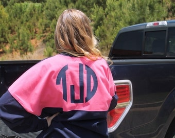Monogrammed Navy and Pink Preppy Jersey - Circle Block Monogram