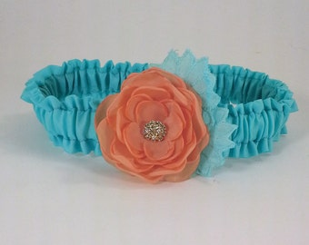 Wedding Garter, Aqua, Salmon Wedding Garter, F162 - flower Bridal garter Accessories