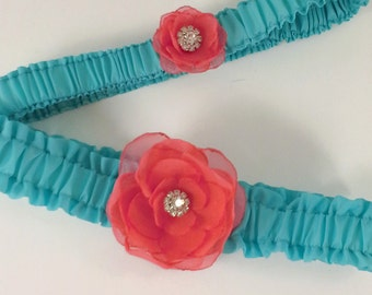 Aqua Blue and Coral Rose Wedding Garter Set A161 - bridal garter accessory