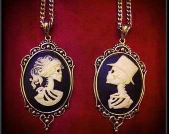 Skeleton Bride and Groom Necklace 2FER // Skeleton Man Skeleton Lady Cameo // Valentines Day Jewelry // Wedding Jewelry // Gift